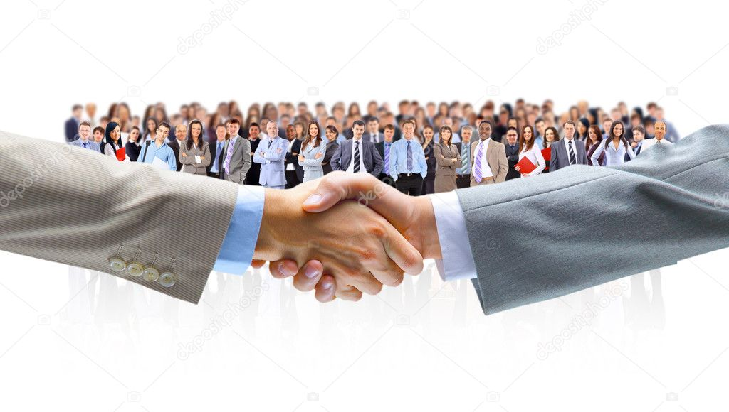 Handshake isolated on business background  — Stock Photo #5576830