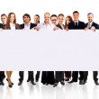 Group of business holding a banner ad isolated on white — Stock Photo #5632605
