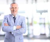 Smiling face of senior man — Stock Photo