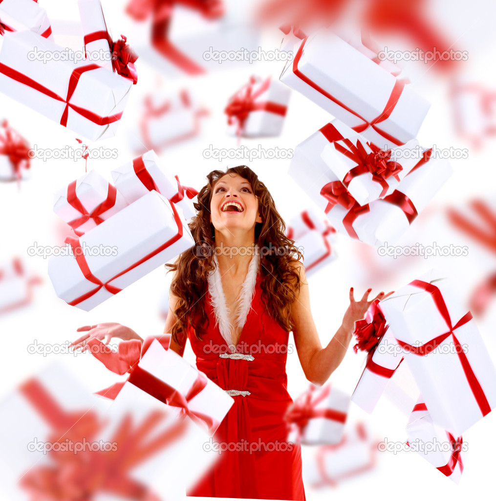 Excited attractive woman with many gift boxes and bags.  — Stock Photo #5632423