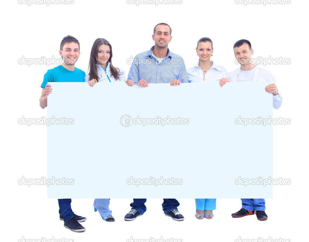 Happy young group of standing together and holding a blank sign for your text — Stock Photo #5637747