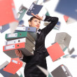 Woman with folders — Stock Photo