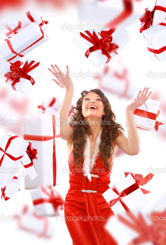 Excited attractive woman with many gift boxes and bags  — Stock Photo #5658206