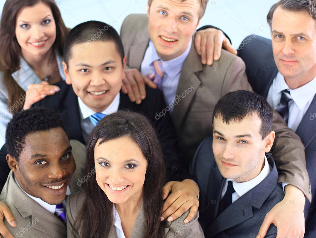 Top view of business with their hands together in a circle — Stock Photo #5658319