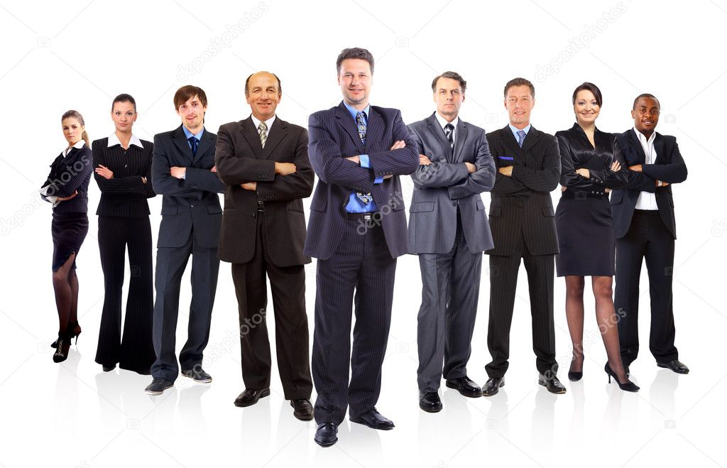 Business team formed of young businessmen and businesswomen standing over a white background  — Photo #5663773