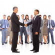 Handshake isolated on business background - Foto Stock