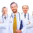 Portrait of group of smiling hospital colleagues standing together — Stock fotografie #5706314