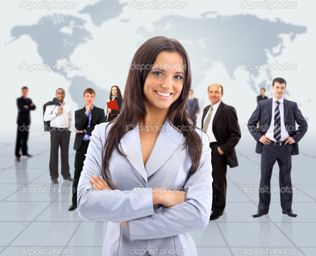 Business woman and her team — Stock Photo #5705682
