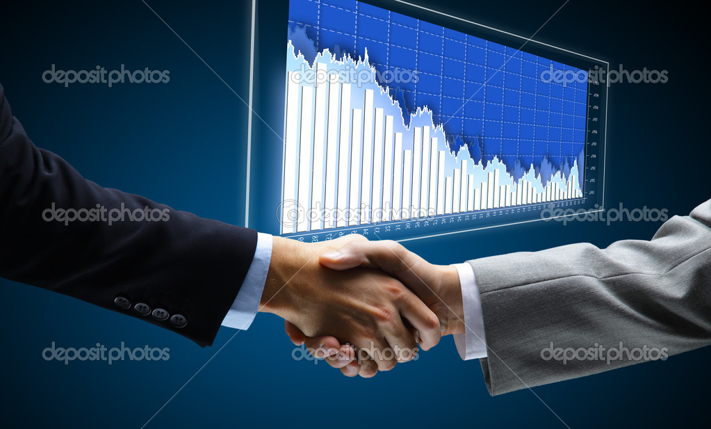 Handshake - Hand holding on black background  — Stock Photo #5827362