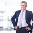 Closeup portrait of satisfied mature businessman in his office with copy sp — Stock Photo #6038250