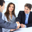 Business shaking hands, finishing up a meeting — Foto de Stock