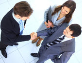 Full length image of two successful business men shaking hands with eachoth — Stock Photo