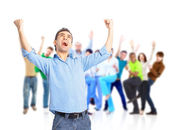Group of happy hugging and cheering — Stock Photo