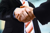 Handshake isolated on light background — Foto Stock