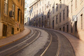 Street with tramway rails in Lisbon, Portugal — Stock Photo