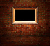 Picture Frame in Brick Room — Stock Photo