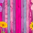 Pink Wood Background with Flowers — Stock Photo
