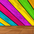 Multicolored Wooden Wall and Tiled Floor — Stock Photo