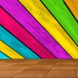 Royalty-Free Stock Photo: Multicolored Wooden Wall and Tiled Floor