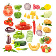 Vegetable Set Isolated on White Background - Stock Photo