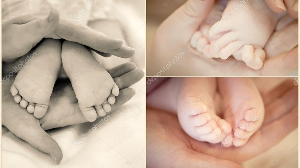 Collection of baby's legs in mother's hands in soft focus — Stock Photo #5699488