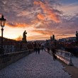 Charles Bridge on sunset — Stock Photo