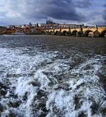 Prague panorama on charles bridge — Stock Photo