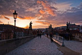 Charles Bridge on sunset — Stock Photo