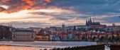 Prague panorama on sunset — Stock Photo