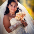 Bride in autumn field — Stockfoto