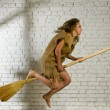 Stock Photo: Flying broom