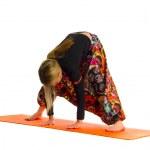 Prasarita Padottanasana a position in Yoga, is also called Wide-Legged Forw — Stock Photo #6724351