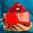 Girl with present box in hand — Stock Photo #6724676