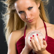 Glamor model with chrystal ball - Stock Photo