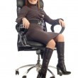 Young business lady sitting on chair — Stock Photo