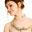 Pretty girl topless with a floral decoration — Stock Photo