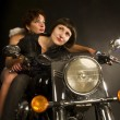 Faraway look biker girl with guardian angel — Foto Stock