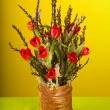 Nice creative tulip bouquet with moss and Spring branches — Stock Photo #6727213
