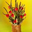 Nice creative tulip bouquet with moss and Spring branches — Stock Photo #6727216