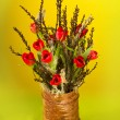 Nice creative tulip bouquet with moss and Spring branches — Stock Photo