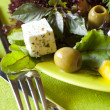 Vegetarian fresh healthy salad with tofu — Stock Photo