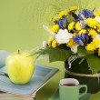 Still life with flower,magazines and coffee - Stock Photo