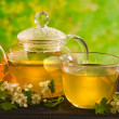 Herbal medicine, tea with hawthorn flower - Stock Photo