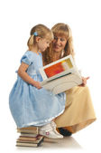 Mother and daughter with books — Stock Photo
