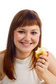 Girl eating apple — Stock Photo