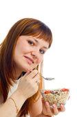 Chica comiendo muesli — Foto de Stock