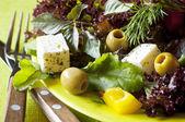 Vegetarian fresh healthy salad with tofu — Stock Photo