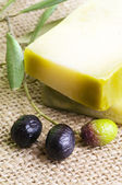 Natural handmade soap with olive — Stock Photo