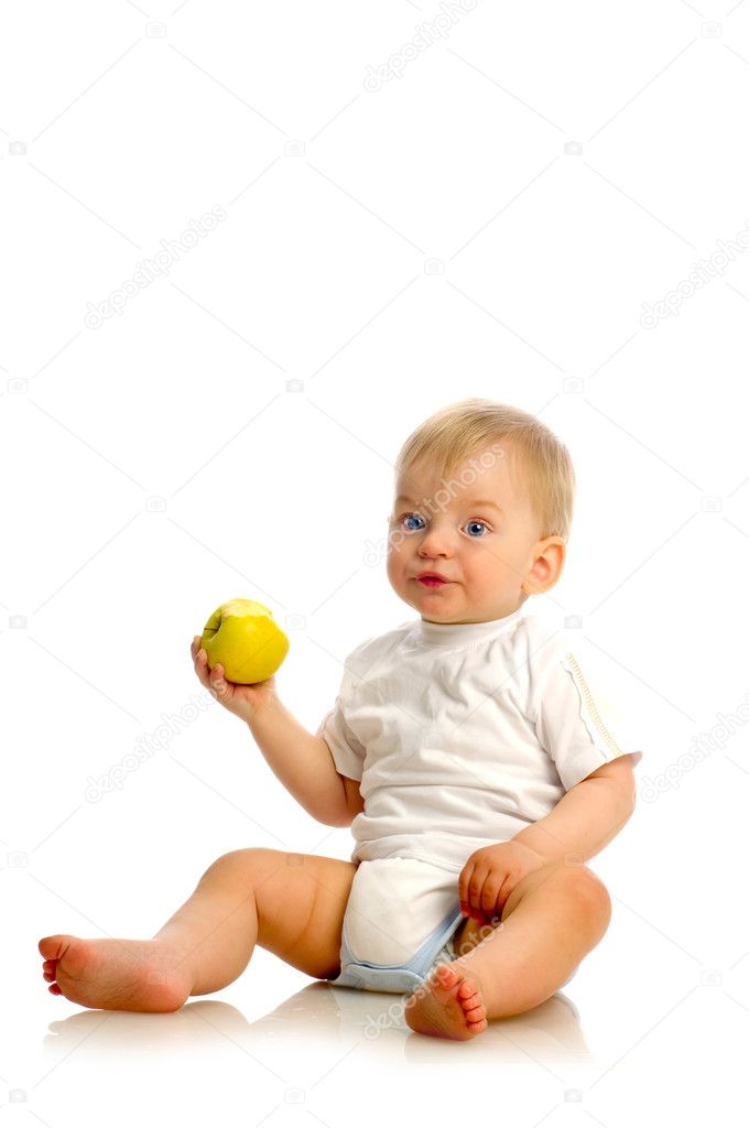 Small boy eating an apple  Stock Photo #6724825