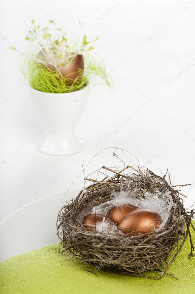 Golden easter eggs in nest on green napkin  — Stock Photo #6727210
